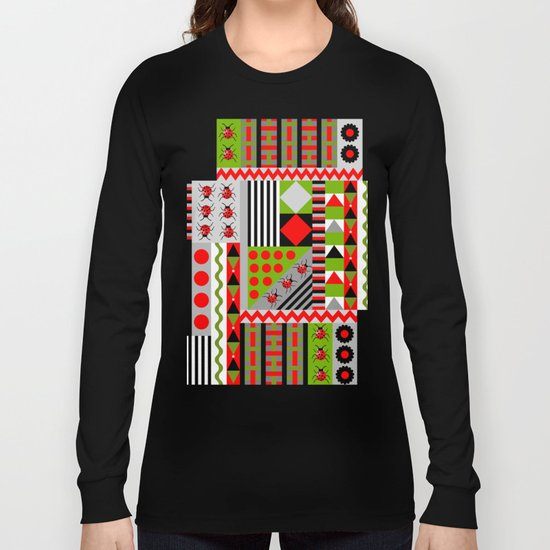 Geometric spring design with ladybugs and flowers Long Sleeve T-shirt