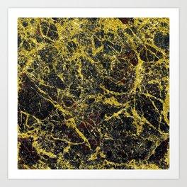 Midnight Black Marble with Gold Glitter Veins Art Print