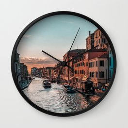 Italy Photography - Canal Going Towards A Beautiful Sunset Wall Clock