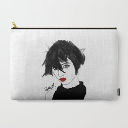 short hair, red lips Carry-All Pouch