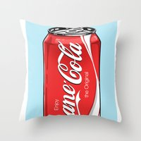 bane Throw Pillows featuring Bane Cola by Jesus Bane