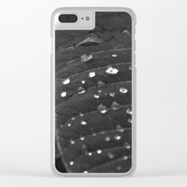 Shining Rain drops on a poinsettia leaf Clear iPhone Case