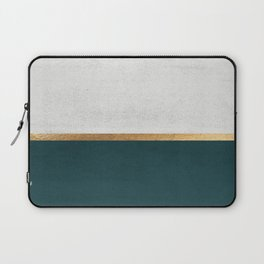 Deep Green, Gold and White Color Block Laptop Sleeve