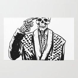 Suicide skeleton illustration Rug