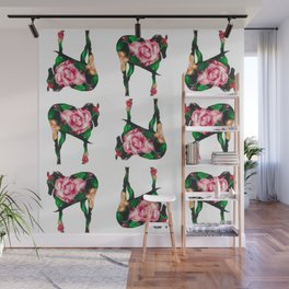 Horse with rose Wall Mural
