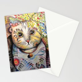 Smokey ... abstract cat art animal pet painting Stationery Cards