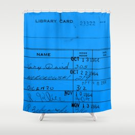 Library Card 23322 Blue Shower Curtain