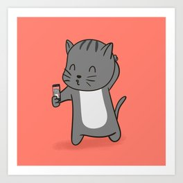 Selfie Kitty Art Print