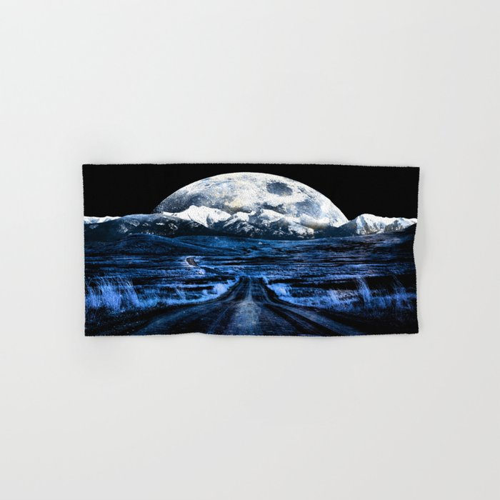 Road to Eternity (blue vintage moon mountain) Hand & Bath Towel