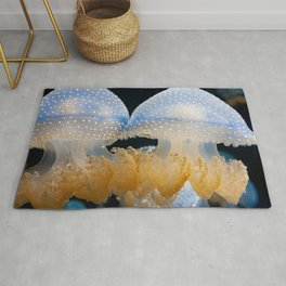 Double Blue Jellyfish - Underwater Photography Rug