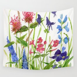 Garden Flowers Botanical Floral Watercolor on Paper Wall Tapestry