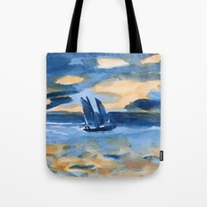 blue boat at sea part 1 Tote Bag