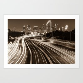 Dallas Skyline at Night - Sepia - Texas Art Art Print