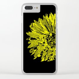 Stamped Wildflower in Yellow and Black Clear iPhone Case