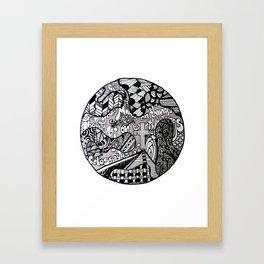 Black and White Biblical Zentangle Mandela Artwork with Colossians 3:2 Framed Art Print