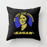 sagan Throw Pillows featuring Carl Sagan we are the cosmos by Buby87