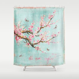 Its All Over Again - Romantic Spring Cherry Blossom Butterfly Illustration on Teal Watercolor Shower Curtain