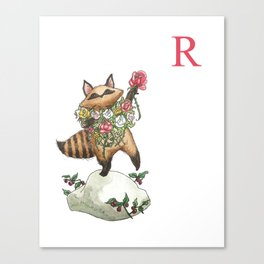 R is for Raccoon with Roses! Canvas Print