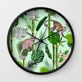 Invitation of Monkeys Wall Clock
