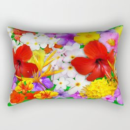 Exotic Flowers Colorful Explosion Rectangular Pillow