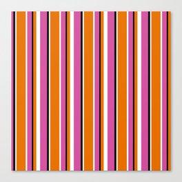 Fun Stripes pink orange Canvas Print