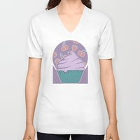 cupcake V-neck T-shirts featuring Cupcake by Perdita