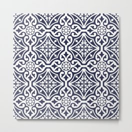 Talavera Mexican Tile in Navy Blue and White Metal Print
