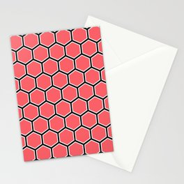 Bright coral, white and black hexagonal pattern Stationery Cards