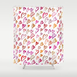 Colourful hearts seamless pattern Shower Curtain