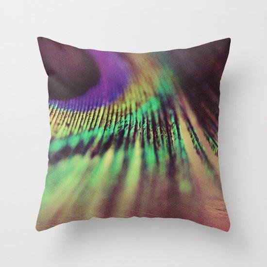 Peacock feather macro Throw Pillow