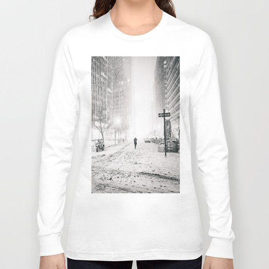 New York City Snow in Times Square Long Sleeve T-shirt