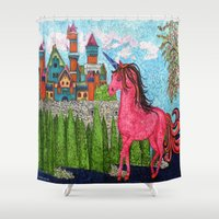 once upon a  time Shower Curtains featuring Once Upon a Time  by MargaretNewcombArt