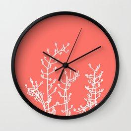 Living Coral Elegant Botanical Abstract Wall Clock