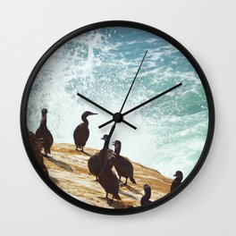 Crashing Waves and Cormorants Wall Clock
