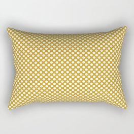 Nugget Gold and White Polka Dots Rectangular Pillow