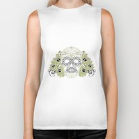 sugar skulls Biker Tanks featuring Sugar Skulls by Zen and Chic