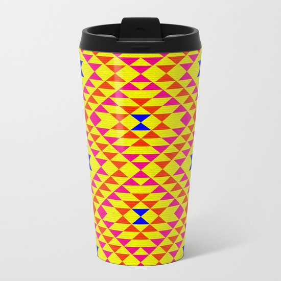 Tribal geometric pattern - yellow Metal Travel Mug