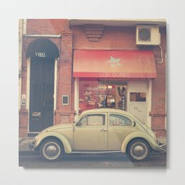 Beige Volkswagen Bug and a lovely Pink Shop (Vintage - Retro Urban Photography) Metal Print
