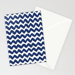 Navy Brushstroke Chevron Pattern Stationery Cards
