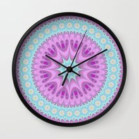 girly Wall Clocks featuring Girly mandala by David Zydd