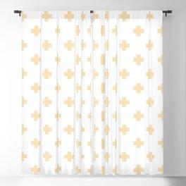 Tan Swiss Cross Pattern Blackout Curtain