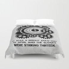 George Orwell - 1984 - Clock Striking 13 Duvet Cover