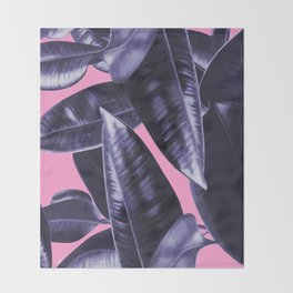 Rubber Plant Pink Throw Blanket