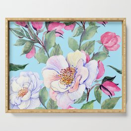 Chic, Elegance Floral Print on Pastel Blue Background Serving Tray