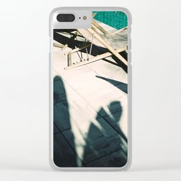 Poolside in Barcelona wanderlust photo print | Palmtree shadow play at summertime Clear iPhone Case