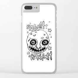 social anxiety black and white Clear iPhone Case