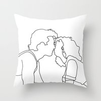 dirty dancing Throw Pillows featuring Dirty Dancing // Johnny and Baby by Bethany Mallick