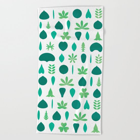 Leaf Shapes and Arrangements Pattern Bright Beach Towel