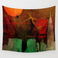 takmaj Wall Tapestries featuring Jump on the green city by Ganech joe