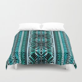 fair isle star in teal Duvet Cover